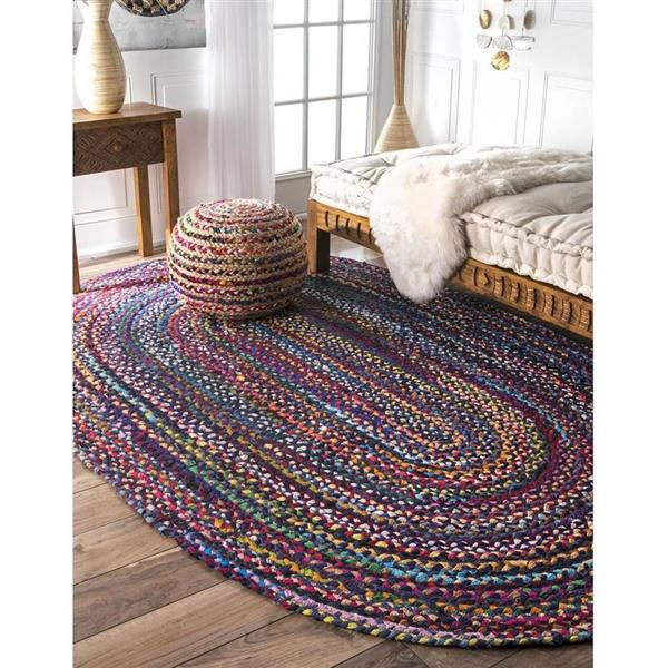 nuLOOM Tammara 7-ft x 9-ft Blue Oval Indoor Handcrafted Area Rug