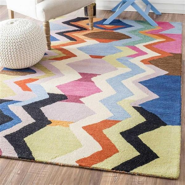 nuLOOM 5-ft x 8-ft Handcrafted Multi-colour Aguirre Indoor Area Rug
