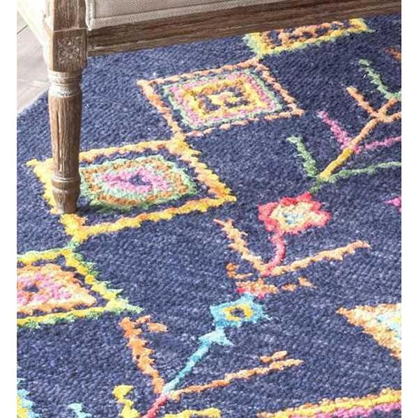 nuLOOM Belini 8-ft x 10-ft Blue Rectangular Indoor Kids Area Rug