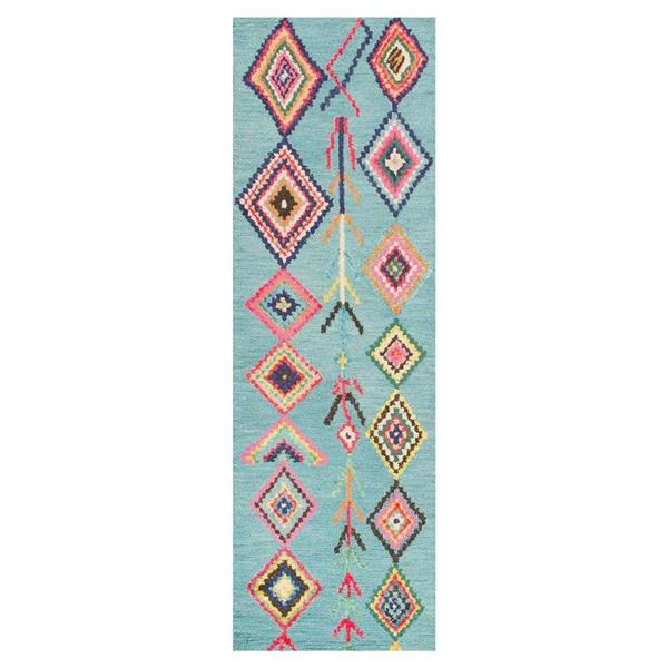 nuLOOM Belini 3-ft x 12-ft Turquoise Rectangular Indoor Kids Area Rug Runner