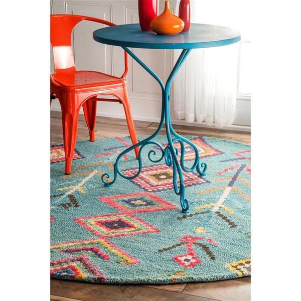 nuLOOM Belini 6-ft Turquoise Round Indoor Kids Area Rug