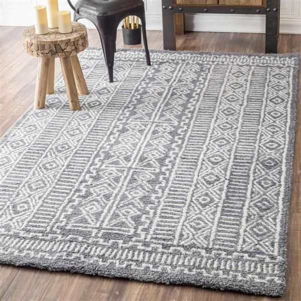nuLOOM Evita 4-ft x 6-ft Gray Rectangular Indoor Handcrafted Area Rug