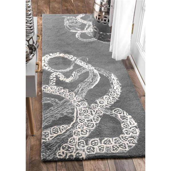 nuLOOM Octopus Tail 3-ft x 8-ft Rectangular Gray Indoor Area Rug Runner