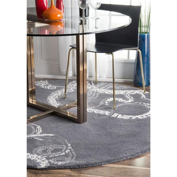 nuLOOM Octopus Tail 6-ft Round Gray Indoor Area Rug