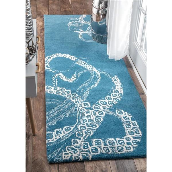 nuLOOM Octopus Tail 4-ft x 6-ft Rectangular Blue Indoor Area Rug