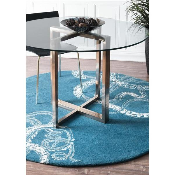 nuLOOM Octopus Tail 6-ft Round Blue Indoor Area Rug