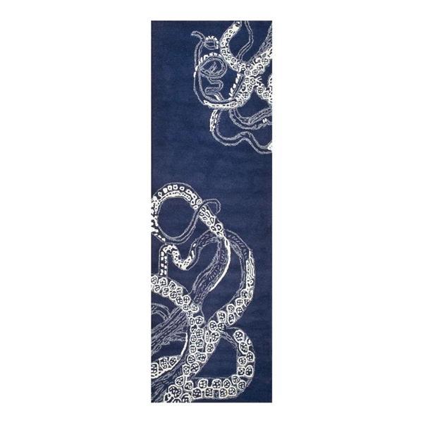 nuLOOM Octopus Tail 3-ft x 8-ft Rectangular Navy Indoor Area Rug Runner