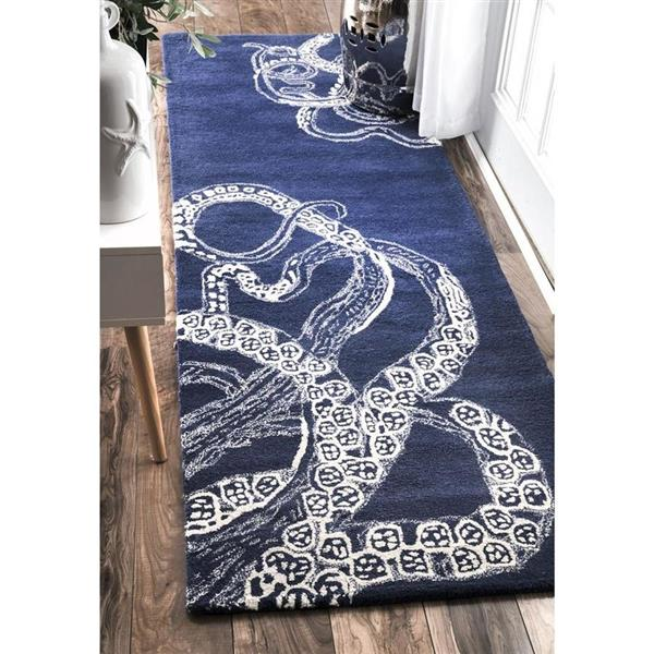 nuLOOM Octopus Tail 6-ft Round Navy Indoor Area Rug
