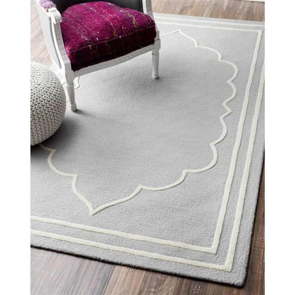 nuLOOM Tari 5-ft x 8-ft Gray Rectangular Indoor Handcrafted Kids Area Rug