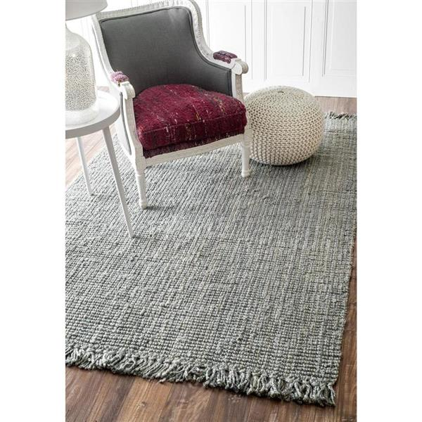nuLOOM Chunky Loop 8-ft x 10-ft Grey Handcrafted Area Rug