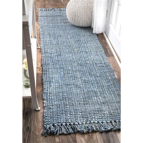 nuLOOM Chunky Loop 8-ft x 10-ft Blue Handcrafted Area Rug