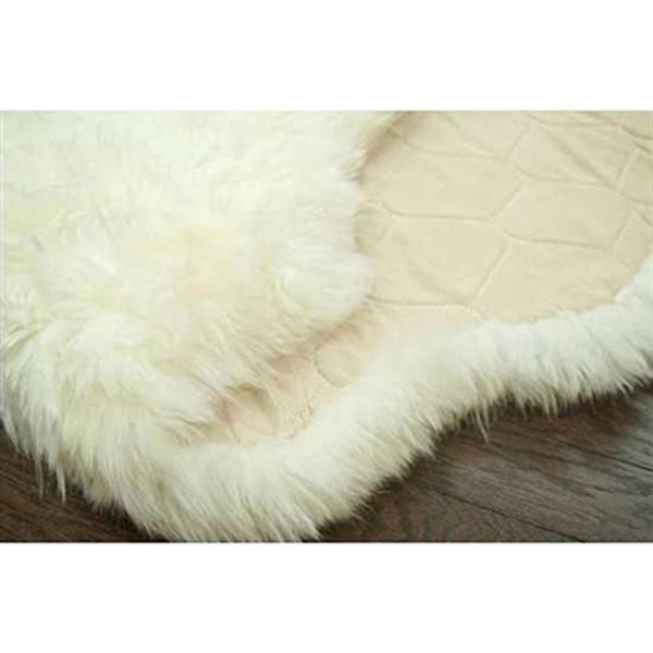 nuLOOM Quarto Luxe 3-ft x 5-ft Rectangular White Indoor Sheepskin Area Rug Runner