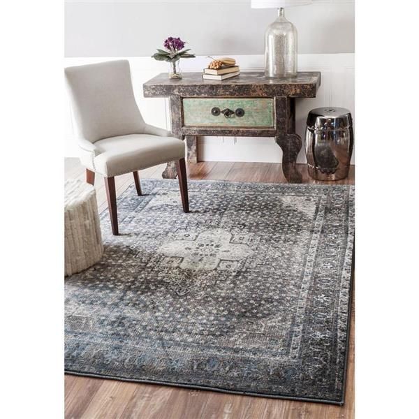 nuLOOM Vintage Kellum 6-ft x 9-ft Rectangular Blue Indoor Area Rug