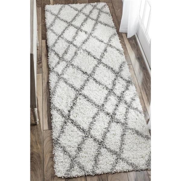 nuLOOM Alvera Easy Shag 5-ft x 8-ft Rectangular Indoor White Area Rug