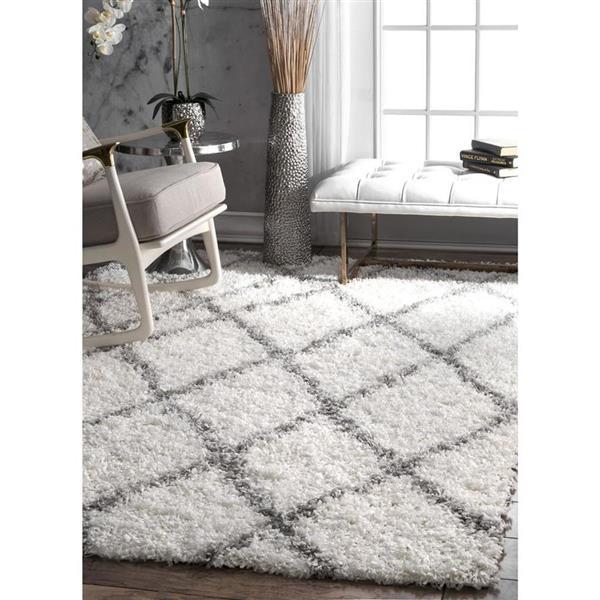 nuLOOM Alvera Easy Shag 7-ft x 9-ft Rectangular Indoor White Area Rug