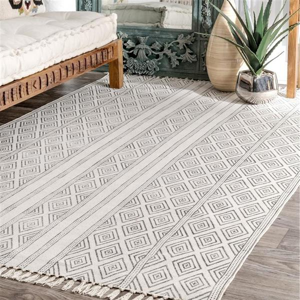 nuLOOM Olvera 5-ft x 8-ft Rectangular Gray Indoor Area Rug