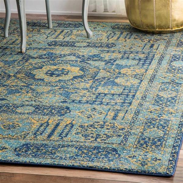 nuLOOM Vintage Emelda 5-ft x 8-ft Rectangular Blue Indoor Area Rug