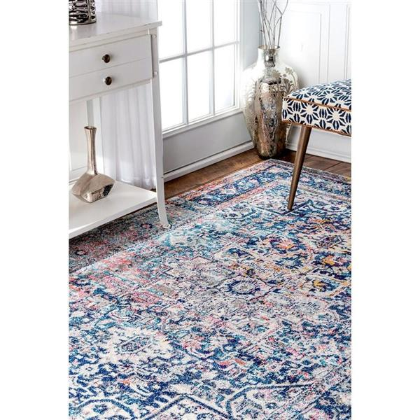 nuLOOM Vintage Raylene 5-ft x 8-ft Rectangular Blue Indoor Area Rug