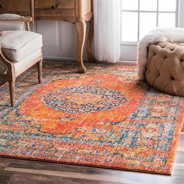 nuLOOM Vintage Olivia 5-ft x 8-ft Rectangular Orange Indoor Area Rug