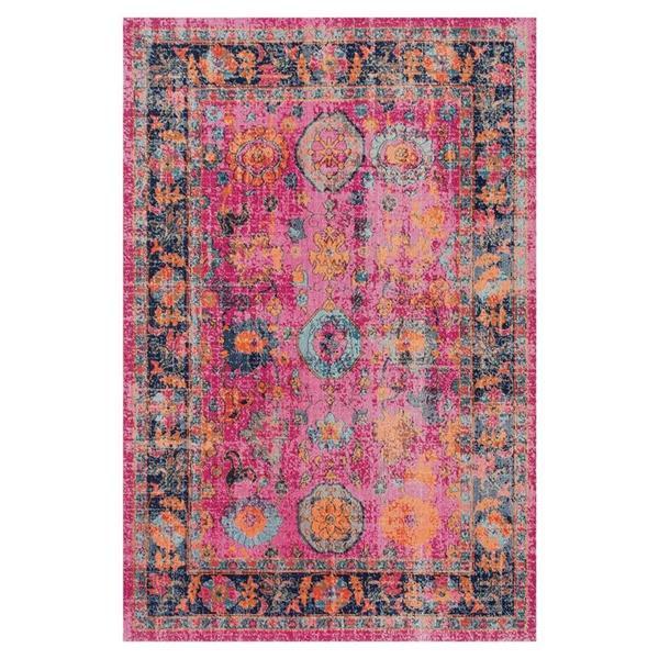 nuLOOM Floral Garden 5-ft x 8-ft Pink Rectangular Indoor Area Rug