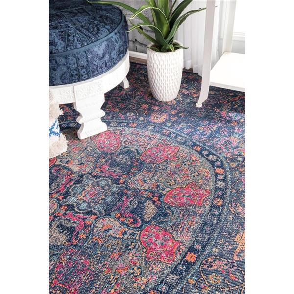 nuLOOM Floral Mandala 5-ft x 8-ft Blue Rectangular Indoor Area Rug