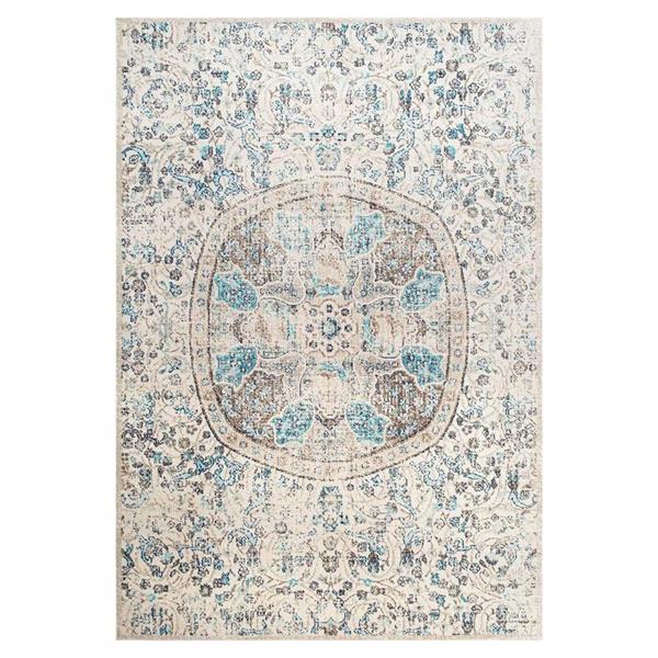 nuLOOM Floral Mandala 7-ft x 8-ft Blue Rectangular Indoor Area Rug