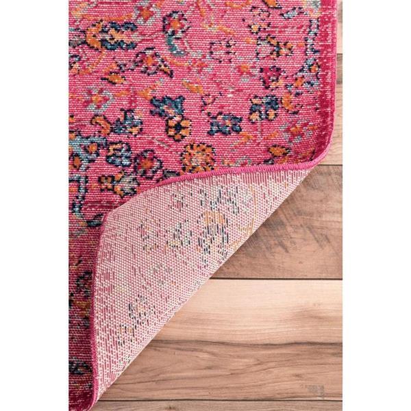 nuLOOM Floral Mandala 5-ft x 8-ft Pink Rectangular Indoor Area Rug