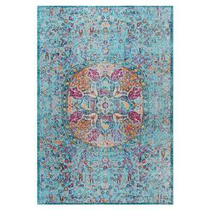 nuLOOM Floral Mandala 5-ft x 8-ft Blue Rectangular Indoor Area Rug