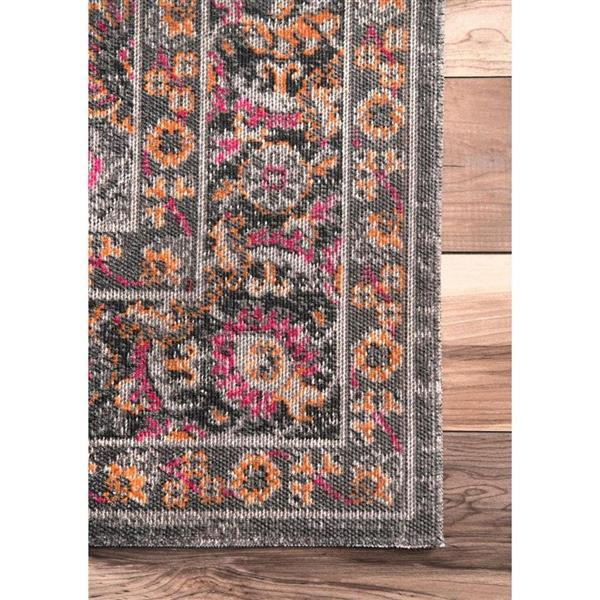 nuLOOM Floral Isela 5-ft x 8-ft Gray Rectangular Indoor Area Rug