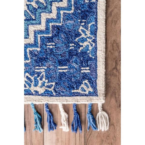 nuLOOM Corey 5-ft x 8-ft Paisley Blue Handcrafted Area Rug