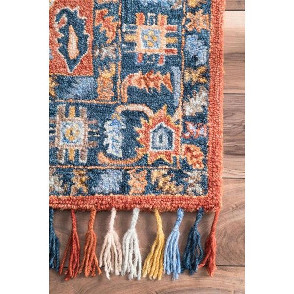 nuLOOM Sharyl Tropical 5-ft x 8-ft Orange Rectangular Indoor Handcrafted Area Rug