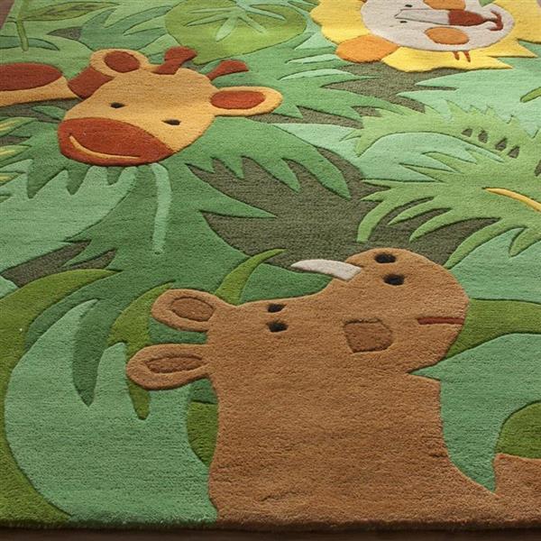 nuLOOM Kinderloom 5-ft x 8-ft Green Kids Area Rug