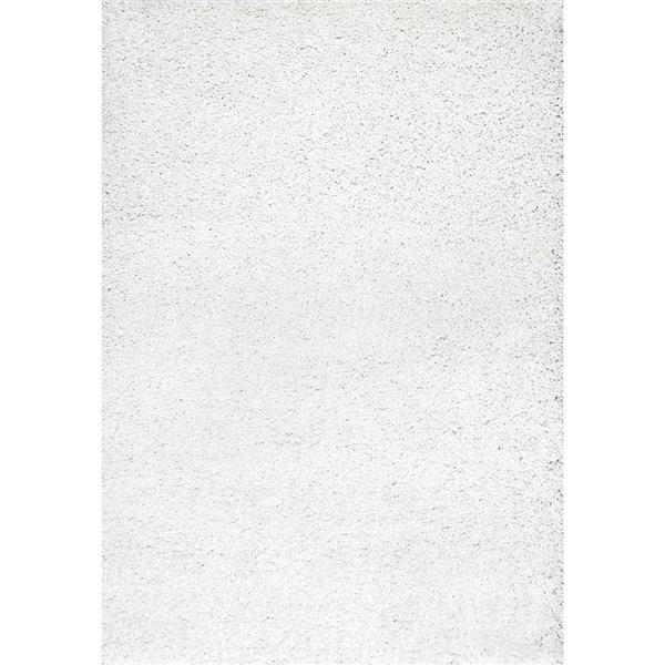 nuLOOM Shag 5-ft x 8-ft White Rectangular Indoor Area Rug