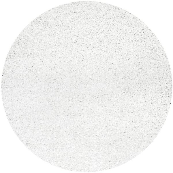 nuLOOM Shag 8-ft x 8-ft White Round Indoor Area Rug