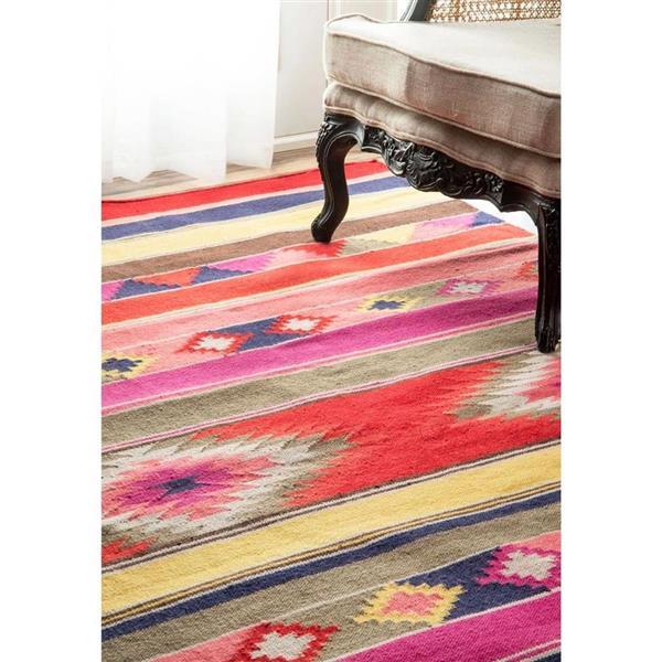 nuLOOM Ladonna Tribal 5-ft x 8-ft Multi-Color Kilim Area Rug
