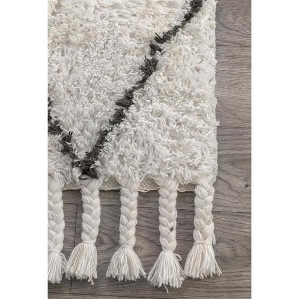 nuLOOM Fez 3-ft x 8-ft Cream Rectangular Indoor Handcrafted Runner
