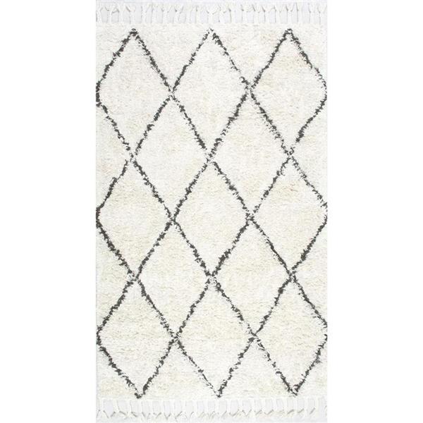 nuLOOM Fez 5-ft x 8-ft Cream Rectangular Indoor Handcrafted Area Rug