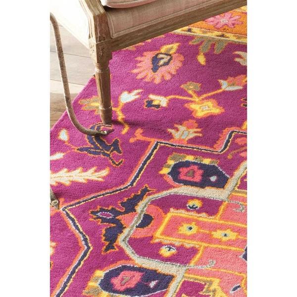 nuLOOM Floral Medallion Ardith 2-ft x 10-ft Rectangular Indoor Pink Area Rug Runner