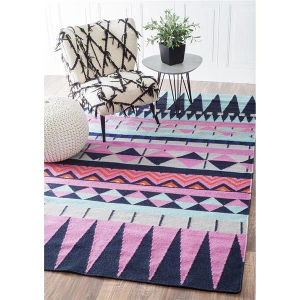 nuLOOM Bruna 8-ft x 10-ft Blue & Pink Handcrafted Area Rug