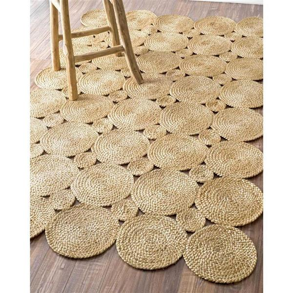 nuLOOM Drusilla 5-ft x 8-ft Tan Round Handcrafted Area Rug