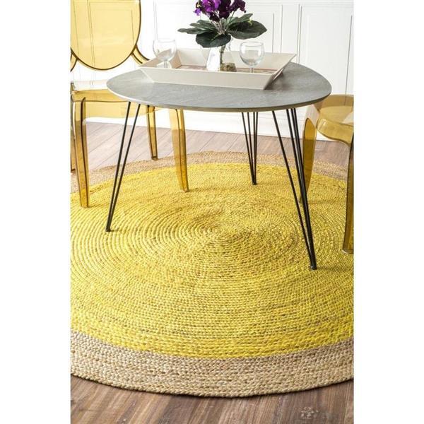 nuLOOM Eleonora 8-ft x 8-ft Yellow Round Indoor Area Rug