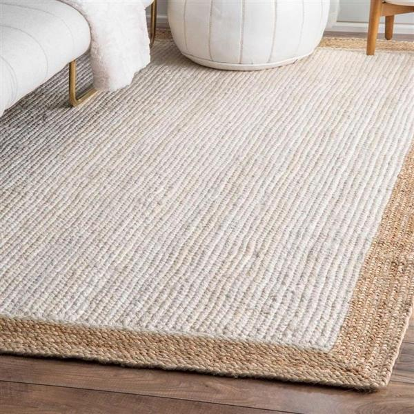 nuLOOM Eleonora 8-ft x 8-ft White Round Indoor Handcrafted Area Rug