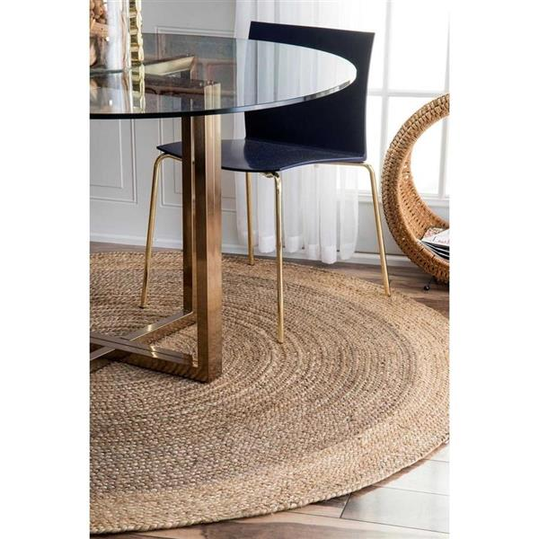 nuLOOM Eleonora 8-ft x 8-ft Gray Round Indoor Handcrafted Area Rug