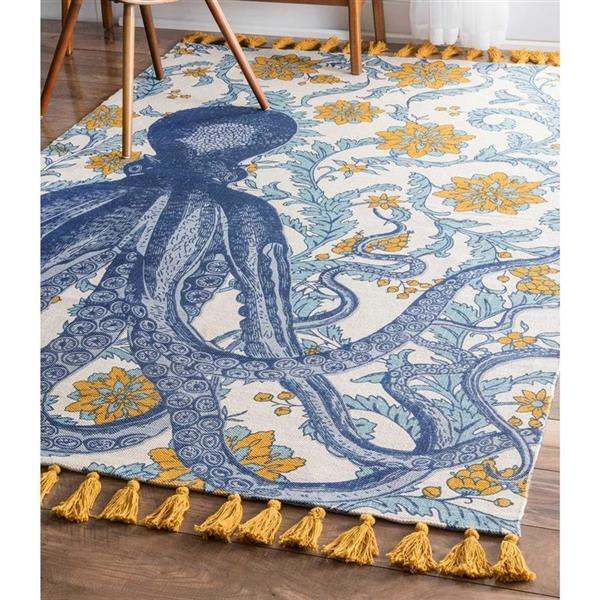 nuLOOM Thomas Paul 6-ft x 9-ft Blue Rectangular Indoor Handcrafted Area Rug