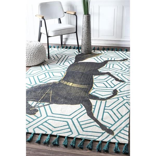 nuLOOM Thomas Paul 5-ft x 8-ft Green Rectangular Indoor Handcrafted Area Rug