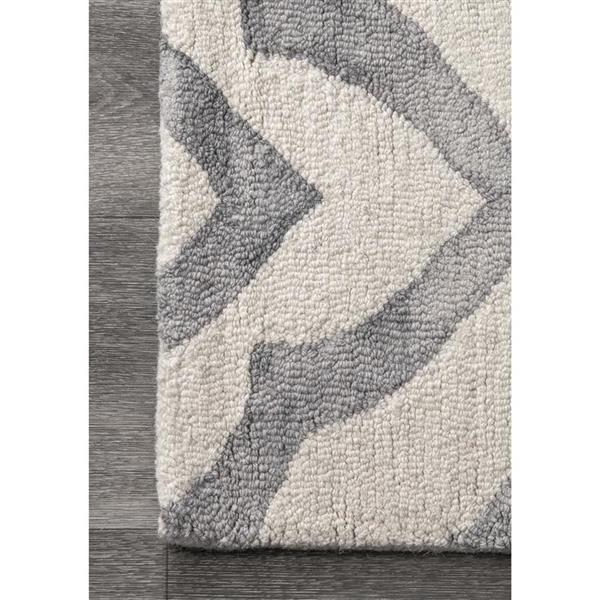 nuLOOM Hand Looped Baggett 5-ft x 8-ft Rectangular Indoor Gray Area Rug