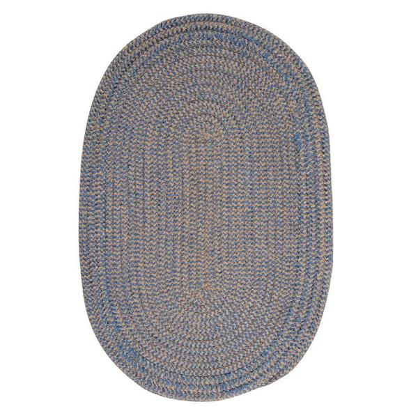 Colonial Mills Softex Check 8-ft Round Blue Ice Check Area Rug