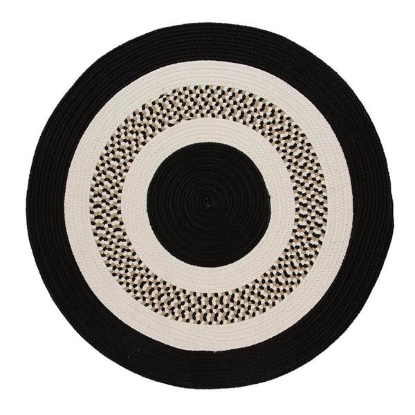 Colonial Mills Flowers Bay 4-ft x 4-ft Black Round Area Rug