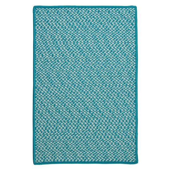 Colonial Mills Outdoor Houndstooth Tweed 4-ft Turquoise Square Area Rug