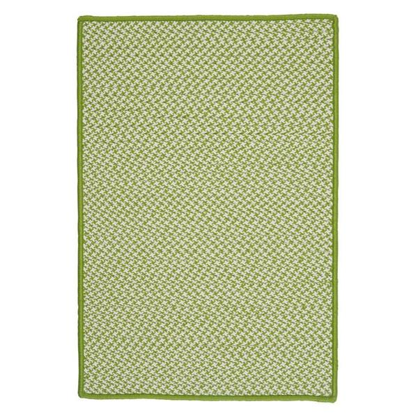 Colonial Mills Outdoor Houndstooth Tweed 2-ft x 12-ft Lime Area Rug